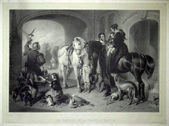 Jean-Baptiste Adolphe Lafosse ,Rückkehr von der Falkenjagd