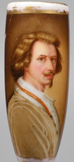 Anthony van Dyck (1599-1641), Selbstportrait, Porzellanmalerei, Pfeifenkopf, D2001