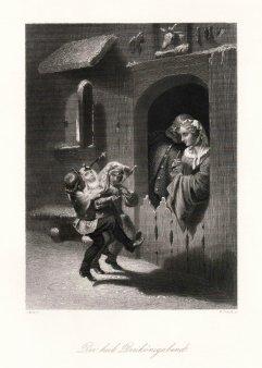 """William French (1815-1898), Stahlstich, """"Der heil. Dreikönigsabend"""", nach J. Wild, D2019"""